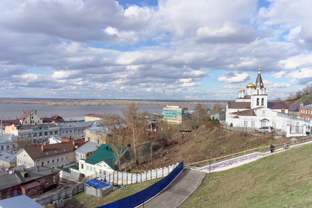 prophet: View from the high bank of the Oka River in the street Christmas and Church of Elijah the Prophet