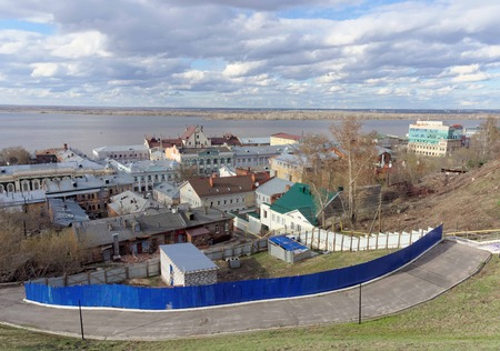 expanse: View from the high bank of the Oka River in the street Christmas and expanse of water