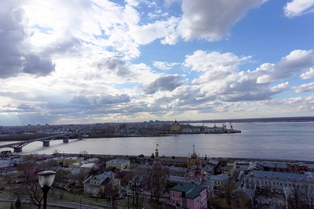 oka: View from the high bank at the intersection of the rivers Volga and Oka, river station Stock Photo
