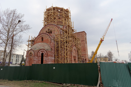 seraphim: Nizhny Novgorod, Russia. - April 10.2016. Construction of the church in honor of St. Seraphim of Sarov on the street 50 years of Victory Editorial
