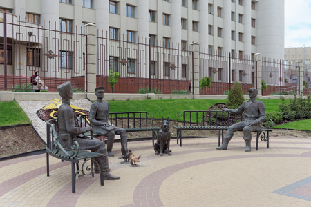 militiaman: Nizhny Novgorod, Russia. - May 17.2016. Sculptures royal policeman soviet militiaman and modern policeman near the building GU MVD in the Nizhny Novgorod region on Gorky Street. The monument symbolizes the continuity of generations of defenders of the rul