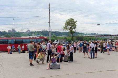 lenin: Nizhny Novgorod, Russia. - June 20.2016. Gathering children to send to the rest camp on Lenin Square
