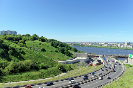 oka: Nizhny Novgorod, Russia. - June 28.2016. View from the hill on the descent to the Metro bridge