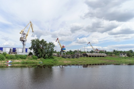 Gorodets,, Russia. - June 2.2016. The view from the river at the shipyard Ship Repair Shipbuilding Corporation in Gorodets