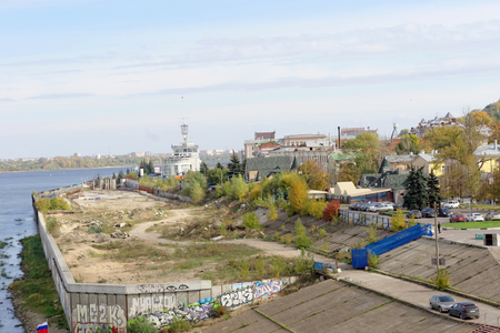 alteration shop: Nizhny Novgorod, Russia. - September 30.2016. View of the abandoned construction site for alteration embankments of the river Oka.