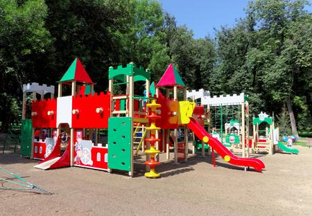 building a chain: Nizhny Novgorod, Russia. - August 01.2016. Children playground game complex in Kulibina park