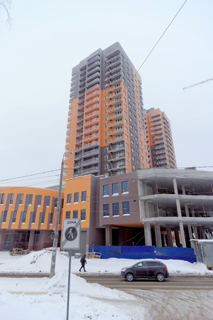 Nizhny Novgorod, Russia. - February 9.2017. Construction of high-rise buildings in the residential complex of the European Quarter on the street Timiryazev 33