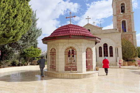 sanctified: Bethlehem, Israel. - February 14.2017. Greek monastery on the Field of the Shepherds - Chapel in the courtyard of the monastery