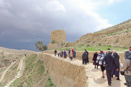 judean hills: Bethlehem, Israel. - February 14.2017. Pilgrims go to the Lavra of Savva the Sanctified in the Judean Desert Editorial