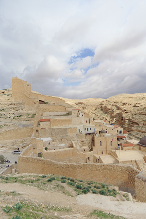 judean hills: Bethlehem, Israel. - February 14.2017. View of the Lavra of Sawa Sanctified in the Judean Desert