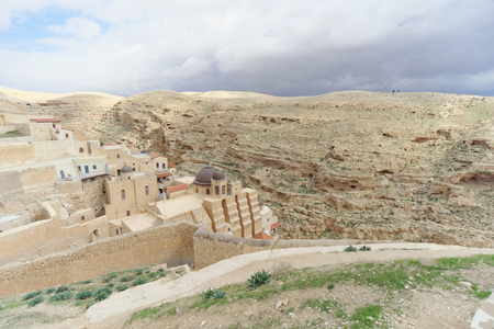 judean hills: Bethlehem, Israel. - February 14.2017. View of the Lavra of Sawa Sanctified in the Judean Desert.