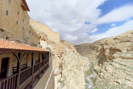 judean hills: Bethlehem, Israel. - February 14.2017. View of the rocky gorge from the balcony in the Lavra of Savva Sanctified in the Judean Desert. Editorial