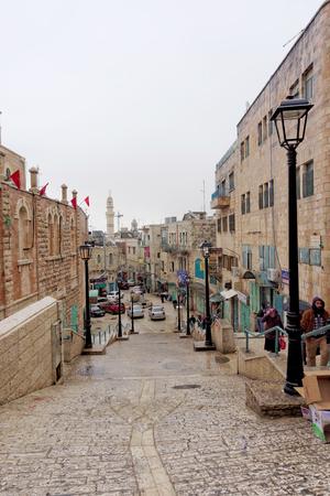 cramped: Bethlehem, Israel. - February 15.2017. Narrow street in the Arab quarter in Bethlehem.