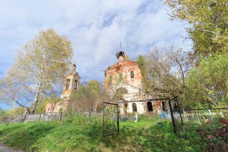 Nizhny Novgorod Region, Russia. - October 01.2016. Abandoned Orthodox Church at the cemetery in the village Novinki