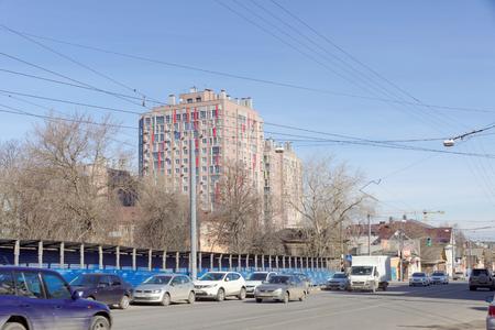 Nizhny Novgorod, Russia. - April 10.2017. View of Ilinskaya Street in the area of crossing with Maxim Gorky Street.