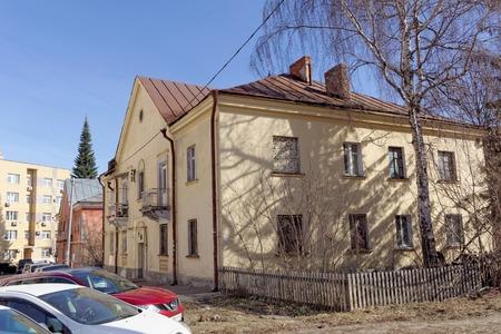 Nizhny Novgorod, Russia. - April 10.2017. Brick apartment house in the street Maxim Gorky 42B.