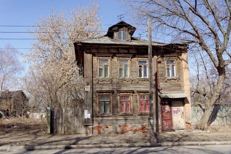 Nizhny Novgorod, Russia. - April 10.2017. The old wooden house on Malaya Yamskaya 11 Editorial