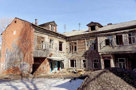 Nizhny Novgorod, Russia. - April 10.2017. The old wooden house on Malaya Yamskaya Editorial