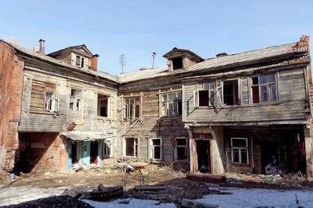 knocked out: Nizhny Novgorod, Russia. - April 10.2017. The old wooden house on Malaya Yamskaya Editorial
