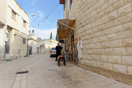 Kfar Kana, Israel. - February 17.2017. Street trade in goods for pilgrims and tourists in Cana of Galilee