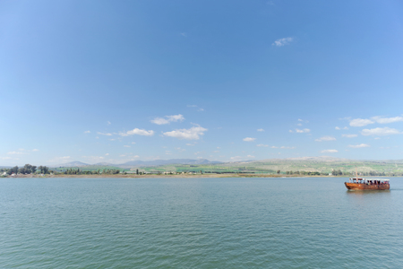 Israel, view of the Sea of Galilee. The ship is far away.