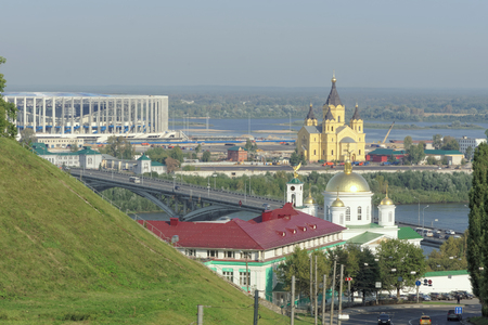 oka: Nizhny Novgorod, Russia. - September 13.2017. View from the high bank of the Oka to the Nizhny Novgorod Theological Seminary, the bridge across the Oka, the Alexander Nevsky Cathedral and the construction of a football stadium for the 2018 World Cup.