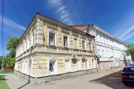 Nizhny Novgorod, Russia. - June 30.2016. Double decker brick house on the street Nizhegorodskaya.