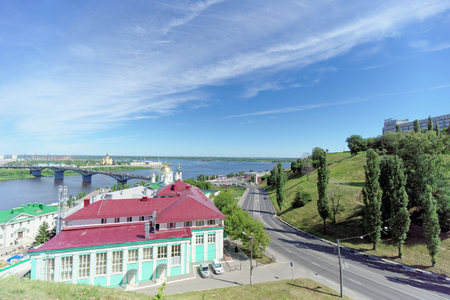 Nizhny Novgorod, Russia. - June 30.2016. The Pokhvalinsky Descent. View of the Nizhny Novgorod Theological Seminary over the Oka River.