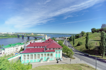 Nizhny Novgorod, Russia. - June 30.2016. The Pokhvalinsky Descent. View of the Nizhny Novgorod Theological Seminary and bridge across over the Oka River.