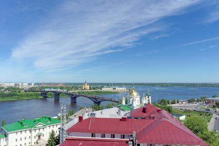 Nizhny Novgorod, Russia. - June 30.2016. The Pokhvalinsky Descent. View of the Nizhny Novgorod Theological Seminary and bridge across over the Oka River.