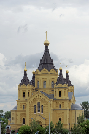 Nizhny Novgorod, Russia. - June 27.2017. The Cathedral of Alexander Nevsky. The huge temple is located at the bank of the Oka River near its confluence with the river Volga.
