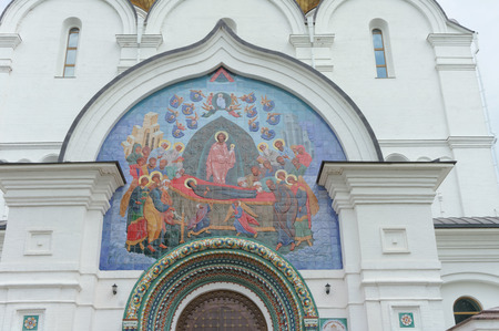 Yaroslavl, Russia. - June 3.2016. Mosaic panel above the entrance to the Assumption Cathedral which depicts the assimilation of the Mother of God.