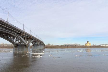 Nizhny Novgorod, Russia. - March 24.2017. Canavinsky bridge over the river Oka.