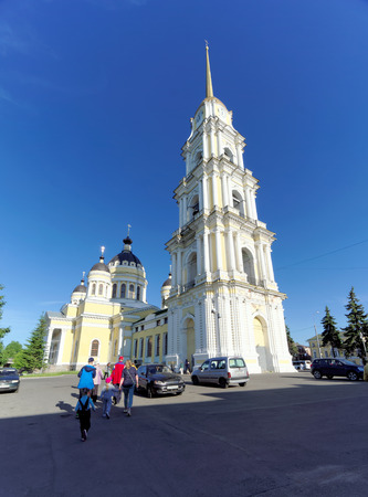 Rybinsk, Russia. - June 3.2016. The Belltower of the Savior-Transfiguration Cathedral in Rybinsk. 報道画像