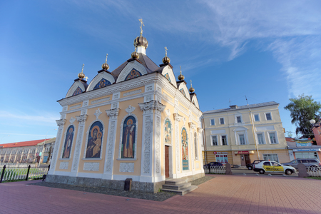 Rybinsk, Russia. - June 3.2016. Chapel of St. Nicholas in Rybinsk standing on the bank of the Volga.