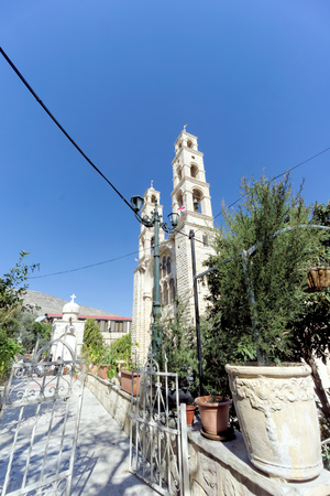 Orthodox monastery over the well of Jacob in Nablus in Palestine. Stock Photo