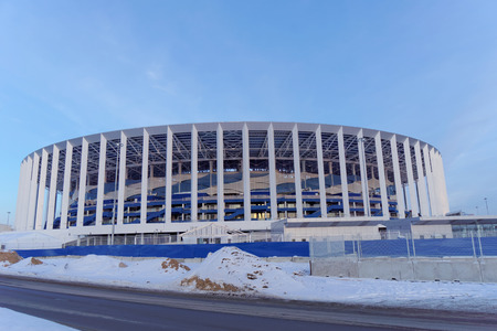 Nizhny Novgorod, Russia. - March 2.2018. Construction of the stadium in Nizhny Novgorod to the FIFA World Cup 2018. 新闻类图片