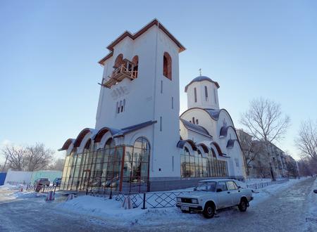 Nizhny Novgorod, Russia. - February 15.2018. hurch in honor of St. Seraphim of Sarov on the street 50 years of Victory.