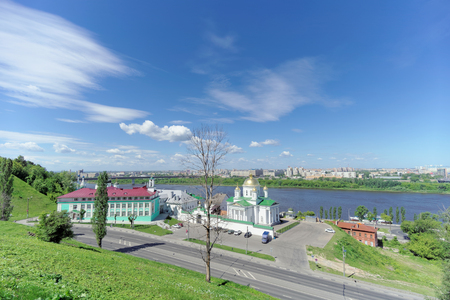 Nizhny Novgorod, Russia. - June 21.2018. View of the Annunciation Monastery and the Nizhny Novgorod Theological Seminary