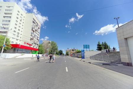 Nizhny Novgorod, Russia. - June 21.2018. Without cars Sovnarkomovskaya Street on the day of the Argentina-Croatia soccer game, motor traffic on the bridge is blocked