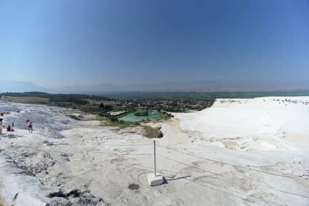 Denizli, Turkey. - July 20.2019. View of the snow-white Pamukkale .