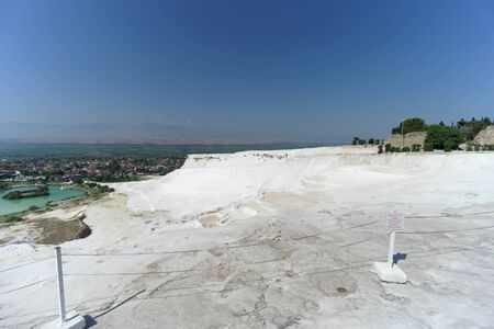 Denizli, Turkey. - July 20.2019. View of the snow-white Pamukkale in Turkey.