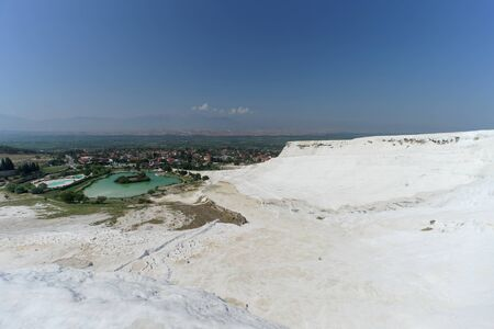 Denizli, Turkey. - July 20.2019. View of the snow-white Pamukkale in Turkey Editoriali