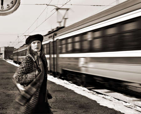 catches: lady missed the train Stock Photo