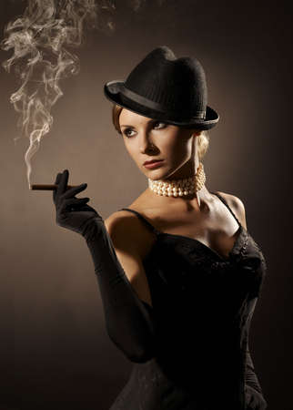 lady and cigar photo