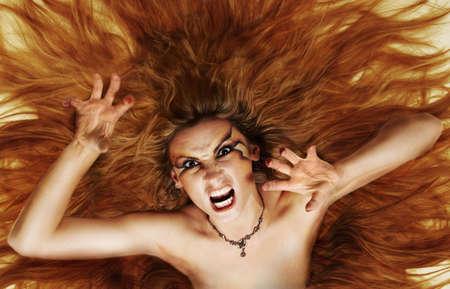 digital art, hair raising girl photo