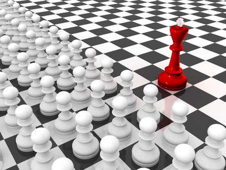 Schaken. Red koning en rijen van witte pionnen op een schaak bord. Leider en team.