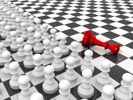 Chess. Rows of white pawns attacks red lying king on chessboard.