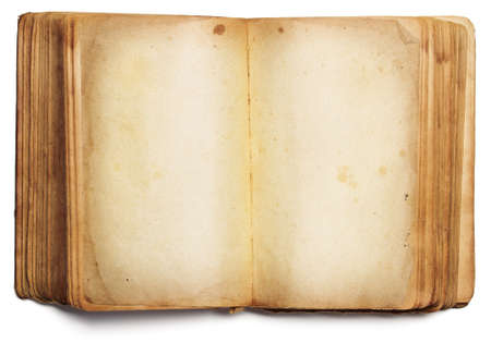 old book open blank pages, empty yellow paper isolated on white background Archivio Fotografico