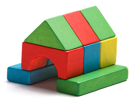 house toy blocks isolated white background, little wooden home Banco de Imagens